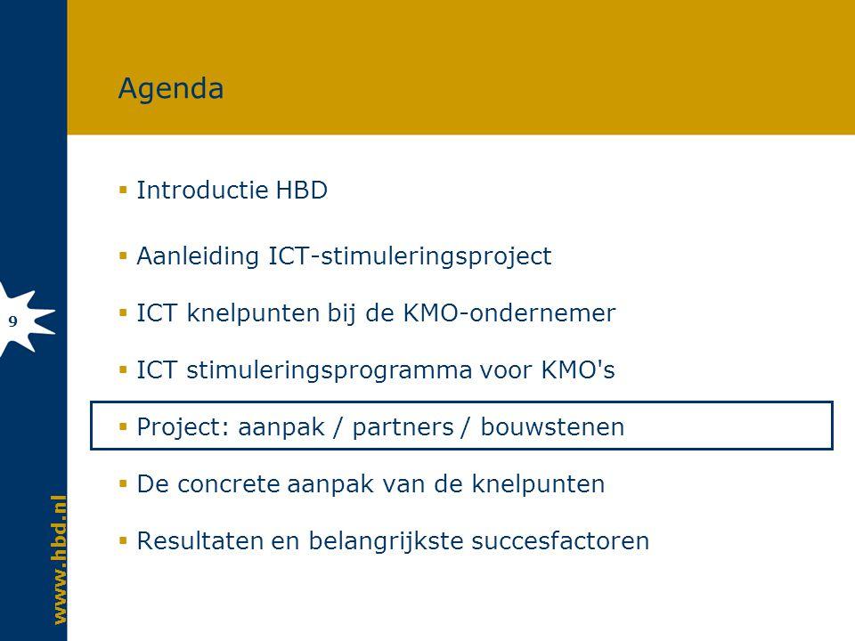 www.hbd.nl 9 Agenda  Introductie HBD  Aanleiding ICT-stimuleringsproject  ICT knelpunten bij de KMO-ondernemer  ICT stimuleringsprogramma voor KMO s  Project: aanpak / partners / bouwstenen  De concrete aanpak van de knelpunten  Resultaten en belangrijkste succesfactoren