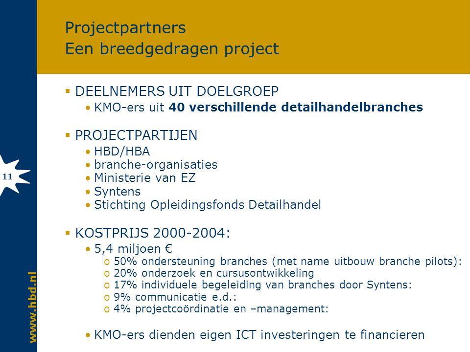 www.hbd.nl 11 Projectpartners Een breedgedragen project  DEELNEMERS UIT DOELGROEP KMO-ers uit 40 verschillende detailhandelbranches  PROJECTPARTIJEN HBD/HBA branche-organisaties Ministerie van EZ Syntens Stichting Opleidingsfonds Detailhandel  KOSTPRIJS 2000-2004: 5,4 miljoen € o50% ondersteuning branches (met name uitbouw branche pilots): o20% onderzoek en cursusontwikkeling o17% individuele begeleiding van branches door Syntens: o9% communicatie e.d.: o4% projectcoördinatie en –management: KMO-ers dienden eigen ICT investeringen te financieren