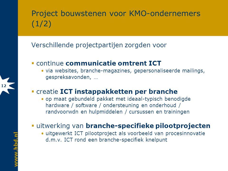 www.hbd.nl 12 Project bouwstenen voor KMO-ondernemers (1/2) Verschillende projectpartijen zorgden voor  continue communicatie omtrent ICT via websites, branche-magazines, gepersonaliseerde mailings, gespreksavonden, …  creatie ICT instappakketten per branche op maat gebundeld pakket met ideaal-typisch benodigde hardware / software / ondersteuning en onderhoud / randvoorwdn en hulpmiddelen / cursussen en trainingen  uitwerking van branche-specifieke pilootprojecten uitgewerkt ICT pilootproject als voorbeeld van procesinnovatie d.m.v.