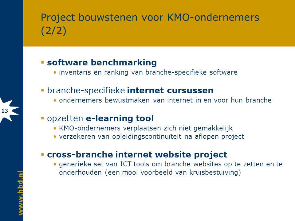 www.hbd.nl 13 Project bouwstenen voor KMO-ondernemers (2/2)  software benchmarking inventaris en ranking van branche-specifieke software  branche-specifieke internet cursussen ondernemers bewustmaken van internet in en voor hun branche  opzetten e-learning tool KMO-ondernemers verplaatsen zich niet gemakkelijk verzekeren van opleidingscontinuïteit na aflopen project  cross-branche internet website project generieke set van ICT tools om branche websites op te zetten en te onderhouden (een mooi voorbeeld van kruisbestuiving)