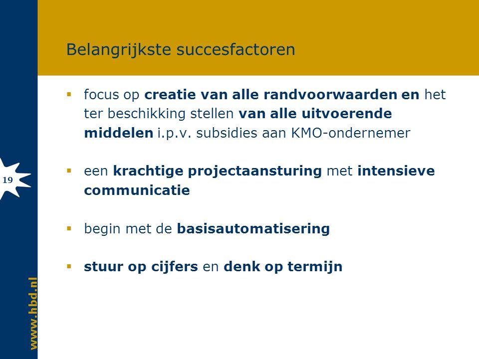 www.hbd.nl 19 Belangrijkste succesfactoren  focus op creatie van alle randvoorwaarden en het ter beschikking stellen van alle uitvoerende middelen i.p.v.