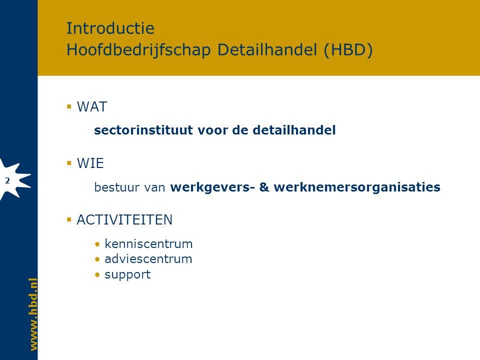 www.hbd.nl 2 Introductie Hoofdbedrijfschap Detailhandel (HBD)  WAT sectorinstituut voor de detailhandel  WIE bestuur van werkgevers- & werknemersorganisaties  ACTIVITEITEN kenniscentrum adviescentrum support