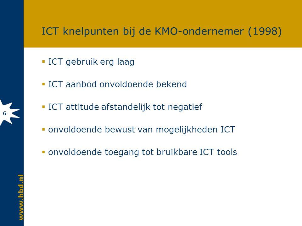 www.hbd.nl 6 ICT knelpunten bij de KMO-ondernemer (1998)  ICT gebruik erg laag  ICT aanbod onvoldoende bekend  ICT attitude afstandelijk tot negatief  onvoldoende bewust van mogelijkheden ICT  onvoldoende toegang tot bruikbare ICT tools