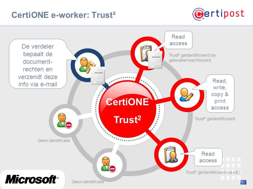 ‹#› CertiONE e-worker: Trust² CertiONE Trust 2 De verdeler bepaalt de document- rechten en verzendt deze info via e-mail Read access Trust² geïdentifi