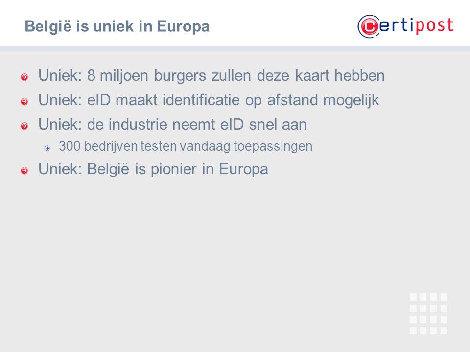 ‹#› Uniek: 8 miljoen burgers zullen deze kaart hebben Uniek: eID maakt identificatie op afstand mogelijk Uniek: de industrie neemt eID snel aan 300 be