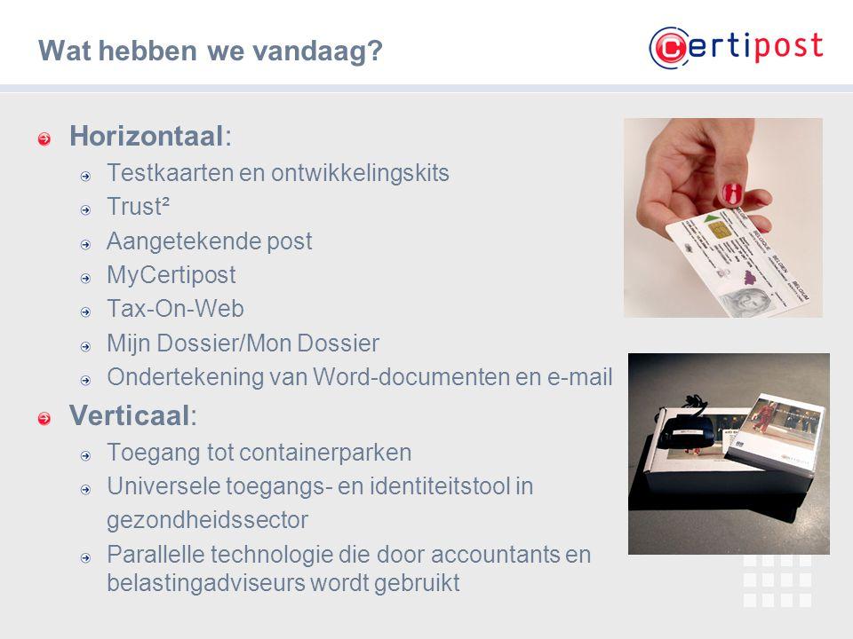 ‹#› Wat hebben we vandaag? Horizontaal: Testkaarten en ontwikkelingskits Trust² Aangetekende post MyCertipost Tax-On-Web Mijn Dossier/Mon Dossier Onde