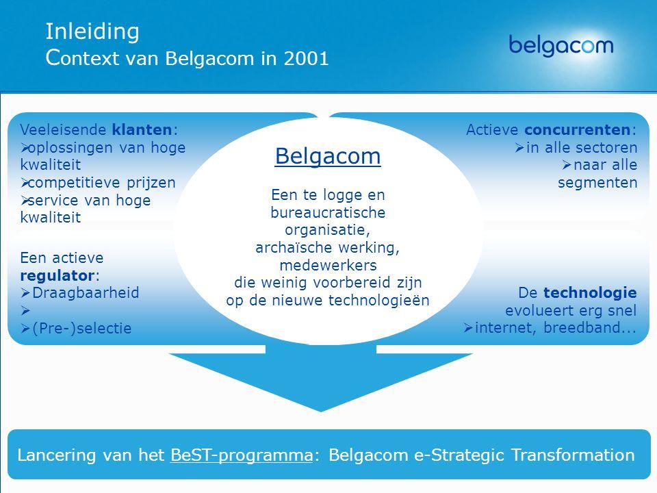 Het BeST Programma BeST Nieuwe Organisationele structuur Sociaal plan brugpensioen reconversies Realisatie van een « e-cultuur » E-Program   B2Customers   B2Suppliers   B2Employees   e-IT   e-FIN   e-HR   Opleidingen ICT   PC-Privé