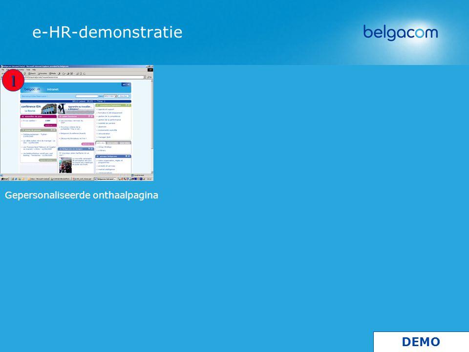 Gepersonaliseerde onthaalpagina e-HR-demonstratie 1 DEMO