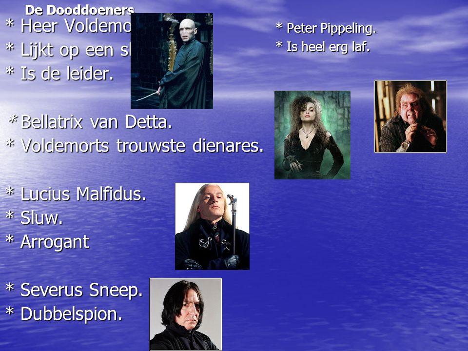 De Dooddoeners * Heer Voldemort. * Lijkt op een slang. * Is de leider. * Bellatrix van Detta. * Voldemorts trouwste dienares. * Lucius Malfidus. * Slu
