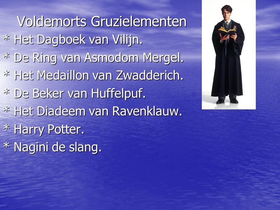 Voldemorts Gruzielementen * Het Dagboek van Vilijn. * De Ring van Asmodom Mergel. * Het Medaillon van Zwadderich. * De Beker van Huffelpuf. * Het Diad