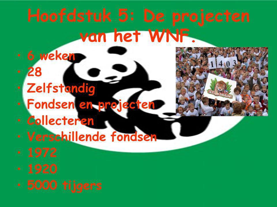 Hoofdstuk 5: De projecten van het WNF. 6 weken 28 Zelfstandig Fondsen en projecten Collecteren Verschillende fondsen 1972 1920 5000 tijgers
