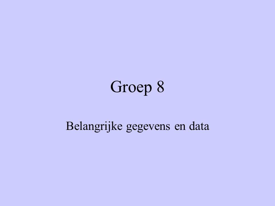 Groep 8 Belangrijke gegevens en data