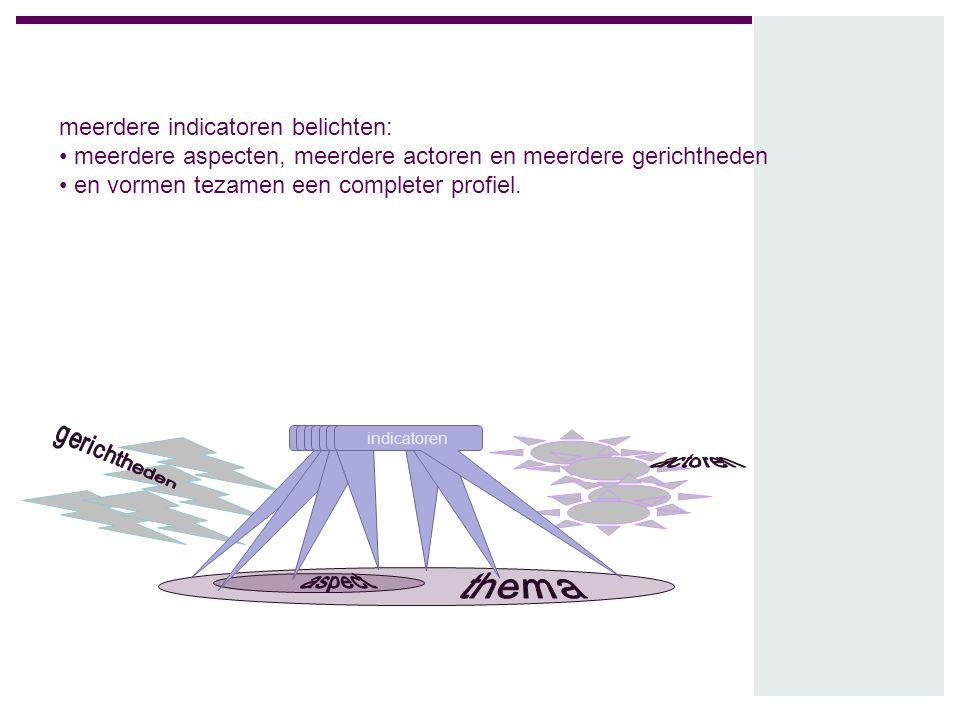 meerdere indicatoren belichten: meerdere aspecten, meerdere actoren en meerdere gerichtheden en vormen tezamen een completer profiel. indicatoren