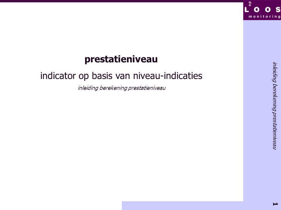 2 onderdeel van de LeerWinst-methode ontwikkeld door De Loos Monitoring prestatieniveau indicator op basis van niveau-indicaties inleiding berekening prestatieniveau