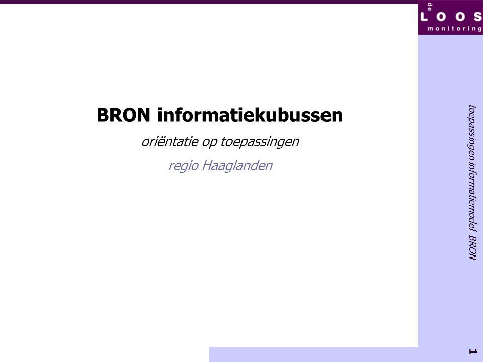 1 toepassingen informatiemodel BRON BRON informatiekubussen oriëntatie op toepassingen regio Haaglanden