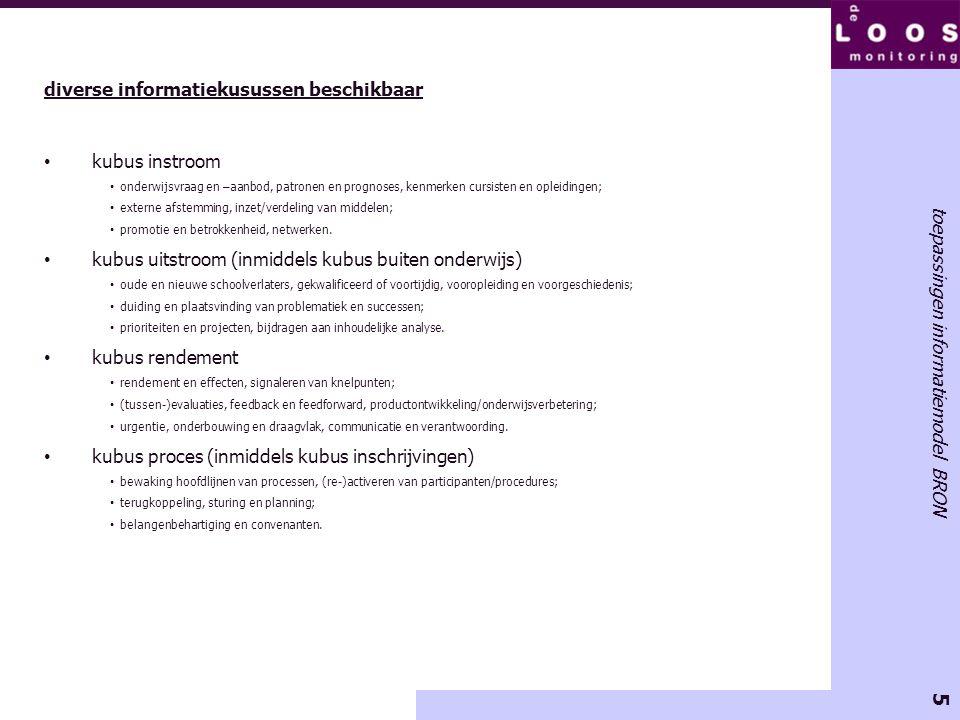 5 toepassingen informatiemodel BRON diverse informatiekusussen beschikbaar kubus instroom onderwijsvraag en –aanbod, patronen en prognoses, kenmerken