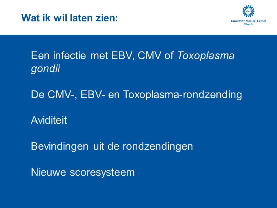 EBV-infectie Epstein-Barr virus; herpes-virus Infectieuze mononucleosis (kissing disease) >95% seropositief Symptomen (meestal geen): koorts, keelpijn, adenopathie, vermoeidheid, vergrote milt, lever, hoofdpijn, heel soms meningitis of encefalitis Geassocieerd met Burkitt's lymfoom en nasopharynx-kanker