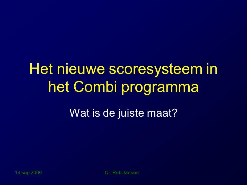 14 sep 2006 Dr. Rob Jansen Het nieuwe scoresysteem in het Combi programma Wat is de juiste maat?
