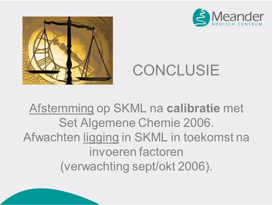 Afstemming op SKML na calibratie met Set Algemene Chemie 2006.