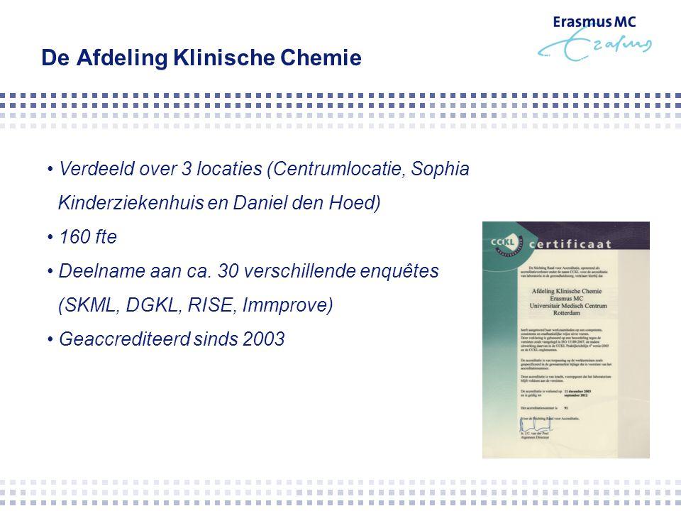 De Afdeling Klinische Chemie Verdeeld over 3 locaties (Centrumlocatie, Sophia Kinderziekenhuis en Daniel den Hoed) 160 fte Deelname aan ca. 30 verschi