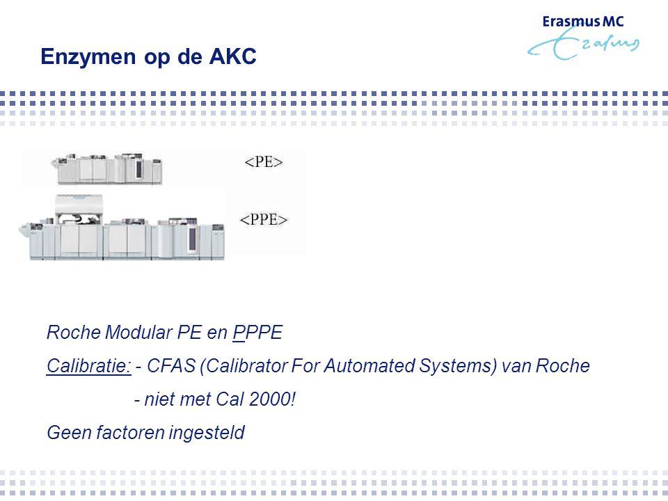Enzymen op de AKC Roche Modular PE en PPPE Calibratie: - CFAS (Calibrator For Automated Systems) van Roche - niet met Cal 2000! Geen factoren ingestel