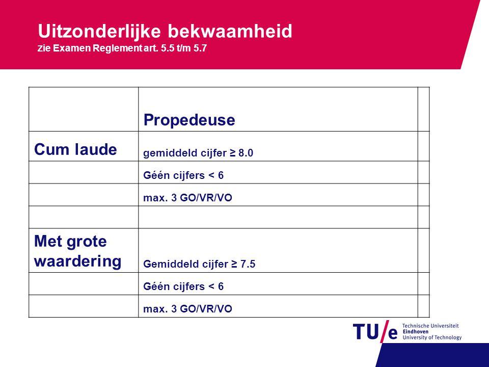 Uitzonderlijke bekwaamheid Z ie Examen Reglement art. 5.5 t/m 5.7 Propedeuse Cum laude gemiddeld cijfer ≥ 8.0 Géén cijfers < 6 max. 3 GO/VR/VO Met gro