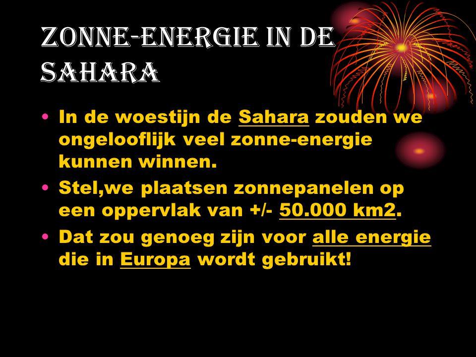 Zonne-energie in de Sahara In de woestijn de Sahara zouden we ongelooflijk veel zonne-energie kunnen winnen. Stel,we plaatsen zonnepanelen op een oppe