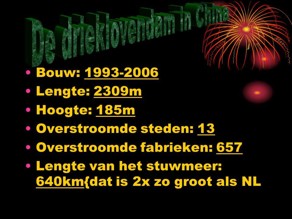 Bouw: 1993-2006 Lengte: 2309m Hoogte: 185m Overstroomde steden: 13 Overstroomde fabrieken: 657 Lengte van het stuwmeer: 640km{dat is 2x zo groot als NL