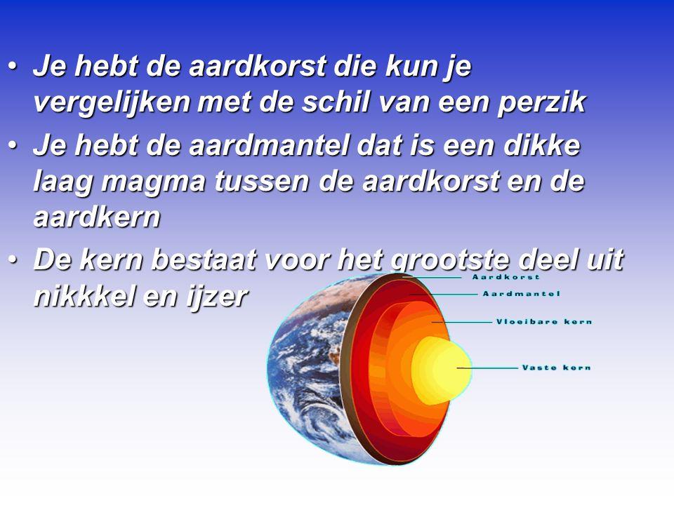 Je hebt de aardkorst die kun je vergelijken met de schil van een perzikJe hebt de aardkorst die kun je vergelijken met de schil van een perzik Je hebt de aardmantel dat is een dikke laag magma tussen de aardkorst en de aardkernJe hebt de aardmantel dat is een dikke laag magma tussen de aardkorst en de aardkern De kern bestaat voor het grootste deel uit nikkkel en ijzerDe kern bestaat voor het grootste deel uit nikkkel en ijzer
