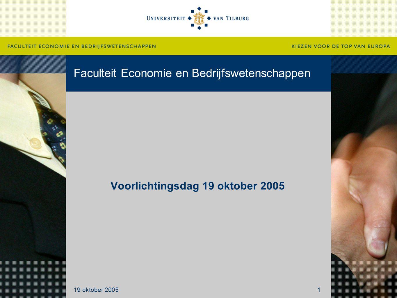 Faculteit Economie en Bedrijfswetenschappen Voorlichtingsdag 19 oktober 2005 19 oktober 20051