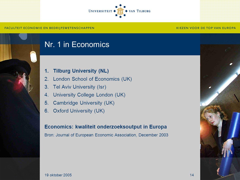 Nr. 1 in Economics 1.Tilburg University (NL) 2.London School of Economics (UK) 3.Tel Aviv University (Isr) 4.University College London (UK) 5.Cambridg