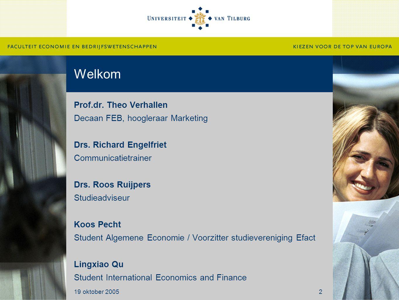 Welkom Prof.dr. Theo Verhallen Decaan FEB, hoogleraar Marketing Drs. Richard Engelfriet Communicatietrainer Drs. Roos Ruijpers Studieadviseur Koos Pec