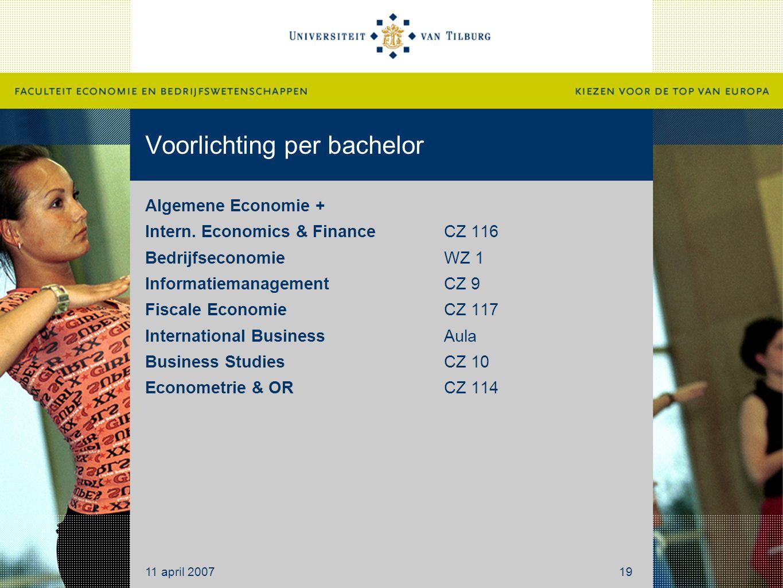 Voorlichting per bachelor Algemene Economie + Intern. Economics & Finance CZ 116 BedrijfseconomieWZ 1 InformatiemanagementCZ 9 Fiscale EconomieCZ 117