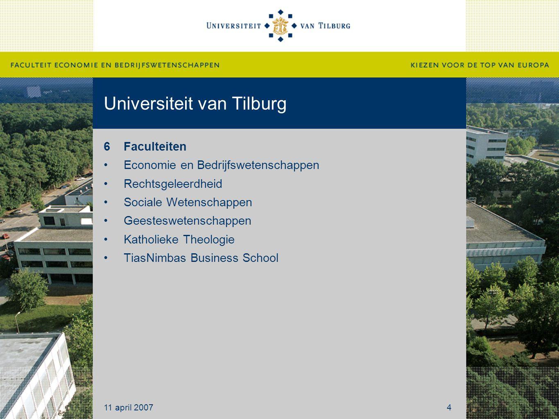 Universiteit van Tilburg 6Faculteiten Economie en Bedrijfswetenschappen Rechtsgeleerdheid Sociale Wetenschappen Geesteswetenschappen Katholieke Theolo