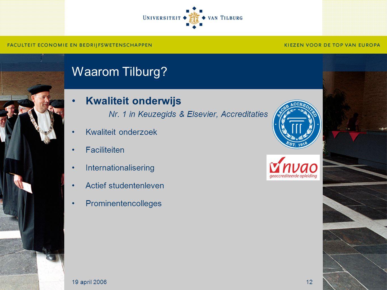 Waarom Tilburg? Kwaliteit onderwijs Nr. 1 in Keuzegids & Elsevier, Accreditaties Kwaliteit onderzoek Faciliteiten Internationalisering Actief studente
