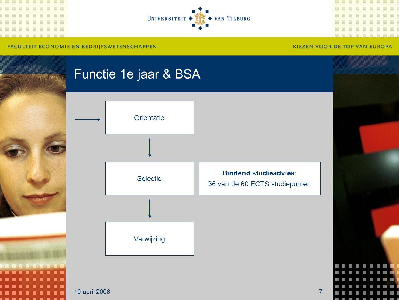 Functie 1e jaar & BSA Oriëntatie Selectie Verwijzing Bindend studieadvies: 36 van de 60 ECTS studiepunten 19 april 20067