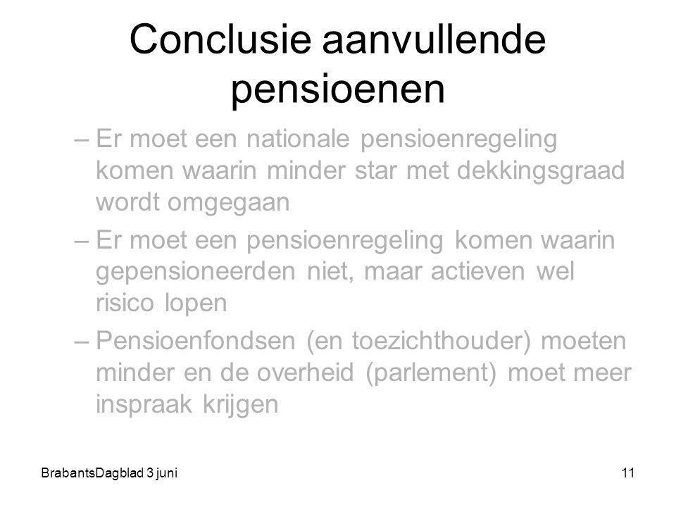 BrabantsDagblad 3 juni11 Conclusie aanvullende pensioenen –Er moet een nationale pensioenregeling komen waarin minder star met dekkingsgraad wordt omg