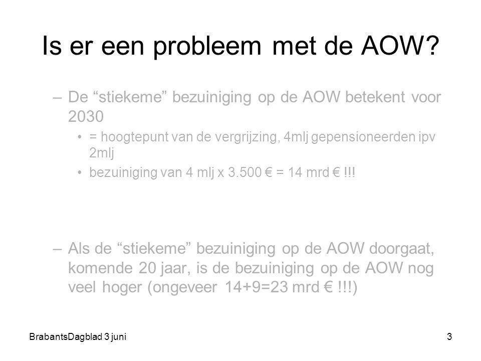"""BrabantsDagblad 3 juni3 Is er een probleem met de AOW? –De """"stiekeme"""" bezuiniging op de AOW betekent voor 2030 = hoogtepunt van de vergrijzing, 4mlj g"""