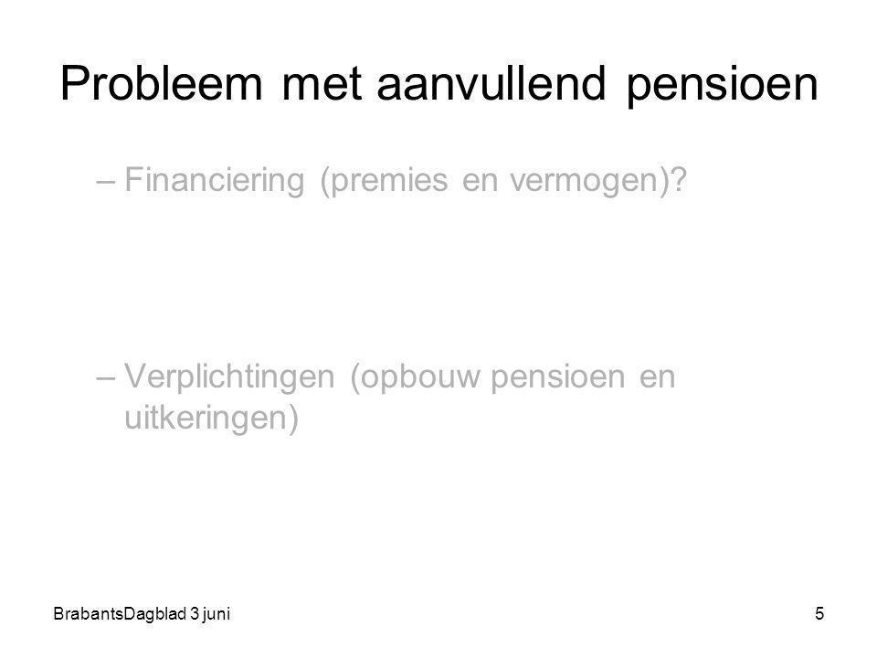 BrabantsDagblad 3 juni5 Probleem met aanvullend pensioen –Financiering (premies en vermogen)? –Verplichtingen (opbouw pensioen en uitkeringen)