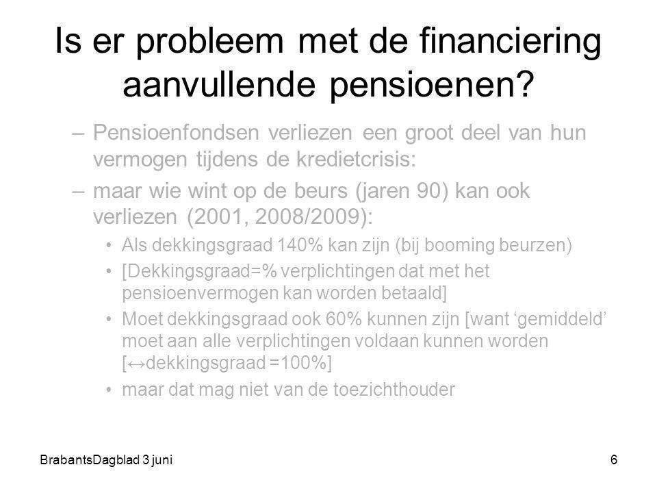 BrabantsDagblad 3 juni6 Is er probleem met de financiering aanvullende pensioenen? –Pensioenfondsen verliezen een groot deel van hun vermogen tijdens