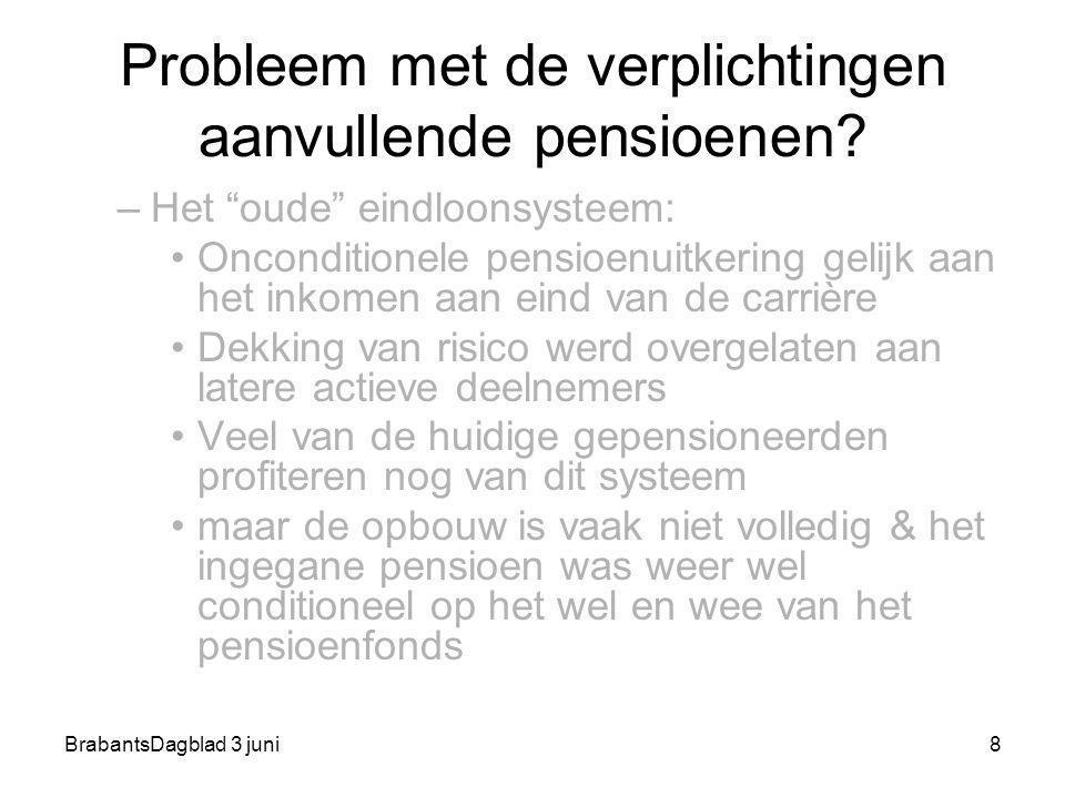 """BrabantsDagblad 3 juni8 Probleem met de verplichtingen aanvullende pensioenen? –Het """"oude"""" eindloonsysteem: Onconditionele pensioenuitkering gelijk aa"""