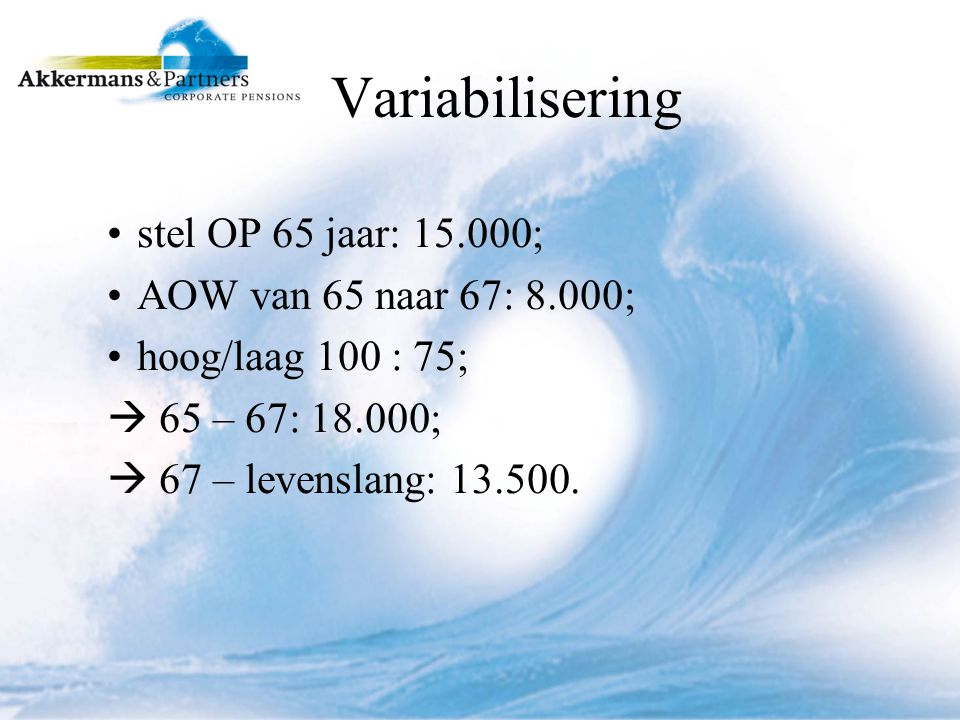 Variabilisering stel OP 65 jaar: 15.000; AOW van 65 naar 67: 8.000; hoog/laag 100 : 75;  65 – 67: 18.000;  67 – levenslang: 13.500.