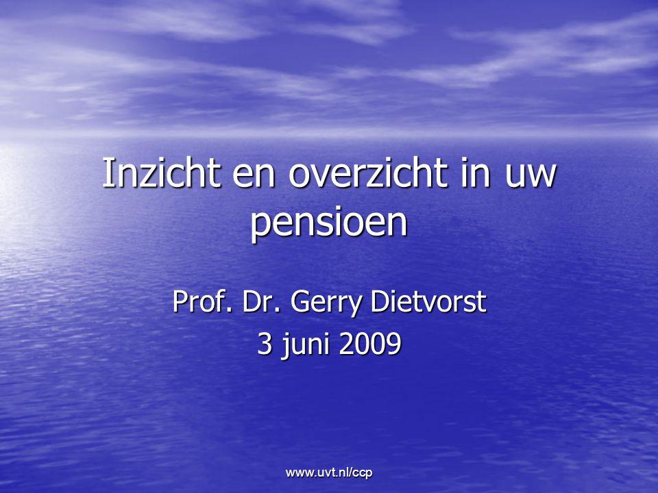 www.uvt.nl/ccp Inzicht en overzicht in uw pensioen Prof. Dr. Gerry Dietvorst 3 juni 2009