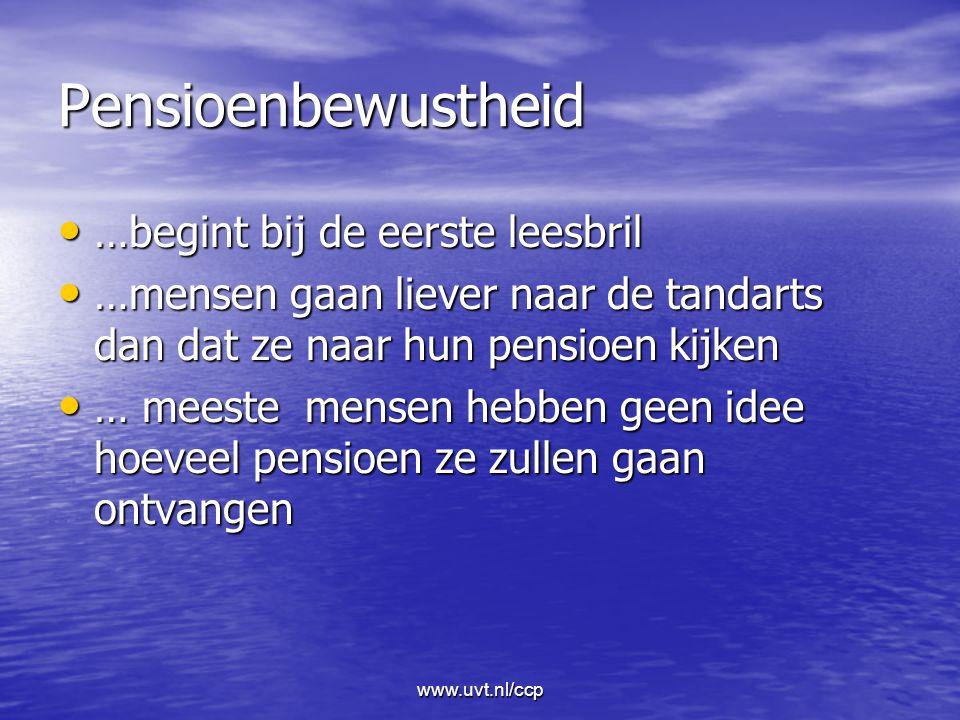 www.uvt.nl/ccp Pensioenbewustheid …begint bij de eerste leesbril …begint bij de eerste leesbril …mensen gaan liever naar de tandarts dan dat ze naar hun pensioen kijken …mensen gaan liever naar de tandarts dan dat ze naar hun pensioen kijken … meeste mensen hebben geen idee hoeveel pensioen ze zullen gaan ontvangen … meeste mensen hebben geen idee hoeveel pensioen ze zullen gaan ontvangen