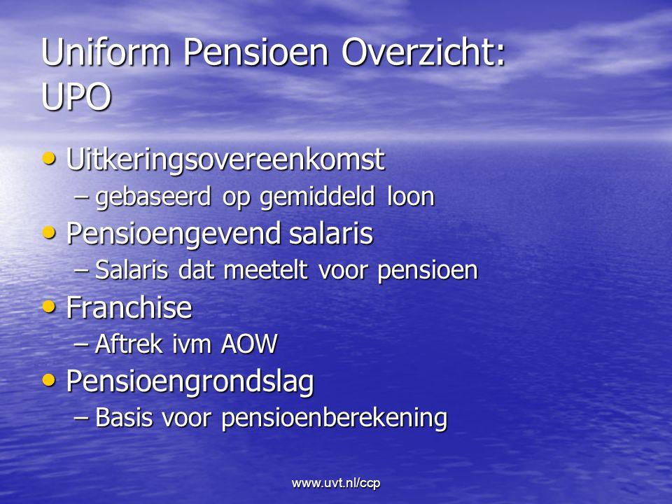 www.uvt.nl/ccp Uniform Pensioen Overzicht: UPO Uitkeringsovereenkomst Uitkeringsovereenkomst –gebaseerd op gemiddeld loon Pensioengevend salaris Pensioengevend salaris –Salaris dat meetelt voor pensioen Franchise Franchise –Aftrek ivm AOW Pensioengrondslag Pensioengrondslag –Basis voor pensioenberekening