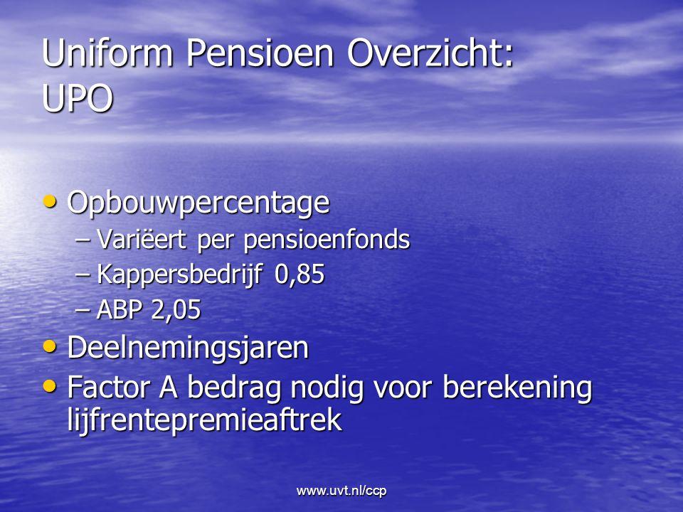 www.uvt.nl/ccp Uniform Pensioen Overzicht: UPO Opbouwpercentage Opbouwpercentage –Variëert per pensioenfonds –Kappersbedrijf 0,85 –ABP 2,05 Deelnemingsjaren Deelnemingsjaren Factor A bedrag nodig voor berekening lijfrentepremieaftrek Factor A bedrag nodig voor berekening lijfrentepremieaftrek