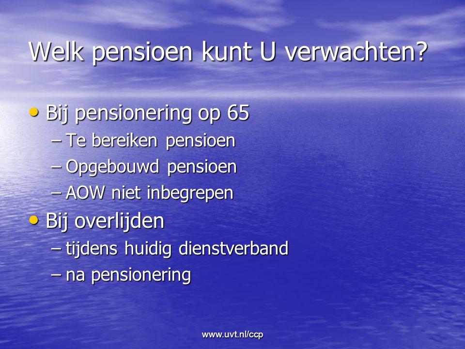 www.uvt.nl/ccp Welk pensioen kunt U verwachten.
