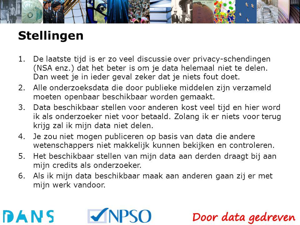 Stellingen 1.De laatste tijd is er zo veel discussie over privacy-schendingen (NSA enz.) dat het beter is om je data helemaal niet te delen.