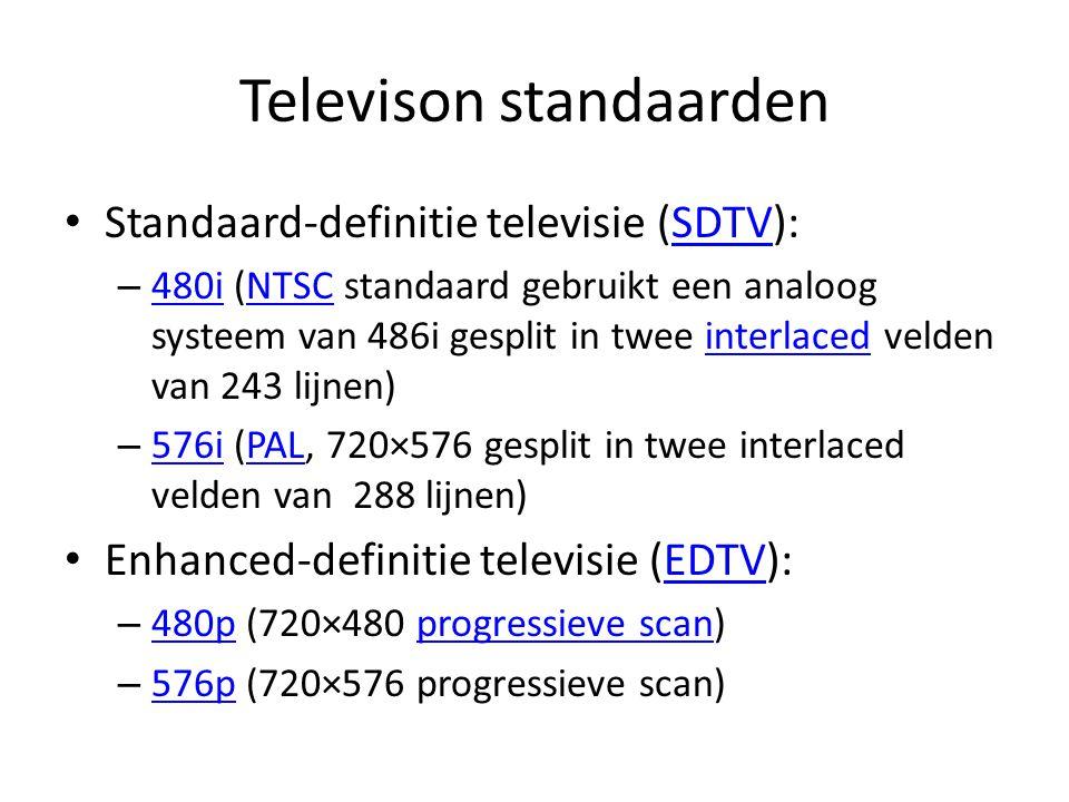 Televisie standaarden High-definition television (HDTV): 16/9HDTV – 720p (1280×720 progressive scan) 720p – 1080i (1920×1080 split into two interlaced fields of 540 lines) 1080i – 1080p (1920×1080 progressive scan) 1080p