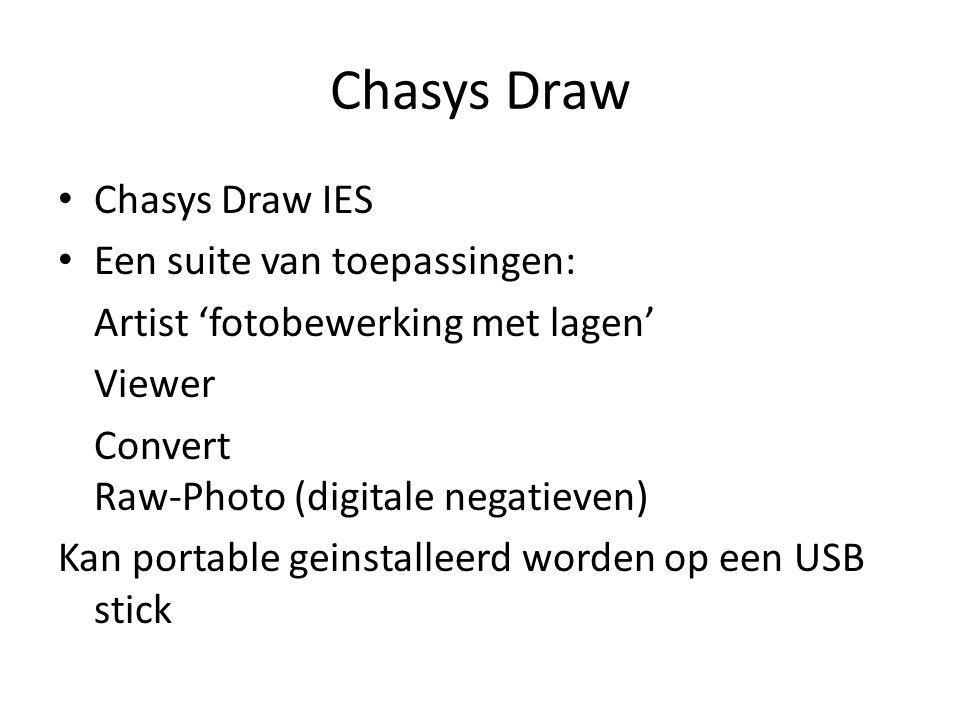 Chasys Draw Chasys Draw IES Een suite van toepassingen: Artist 'fotobewerking met lagen' Viewer Convert Raw-Photo (digitale negatieven) Kan portable g
